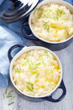 Mashed potatoes in small pots Stock Photo