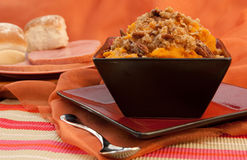 Mashed Sweet Potatoes. In a rustic setting Stock Photography