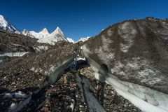 Masherbrum or K1 mountain peak behind Baltoro glacier in Karakor Stock Image