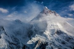 Masherbrum, wie von GORO-Campingplatz gesehen Stockfotos