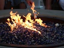 Mashmellow rôtissant au-dessus d'un feu ouvert Image libre de droits