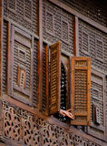 `Mashrabeya` wood lattice window. Hand opening window in wooden latticework Mashrabeya window in Old Cairo, Egypt Stock Images