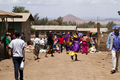 Masia workers. Masai life, masai workers in arusha tanzania during a busy day stock photo