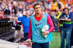Masip joue à la correspondance de Liga de La entre le Valencia CF et le FC Barcelona chez Mestalla Images libres de droits