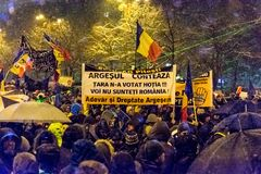 Anti-corruption protest in Bucharest. Masive Anti-corruption protest in Bucharest, Roumania. Event from 20 february 2018 Stock Photos