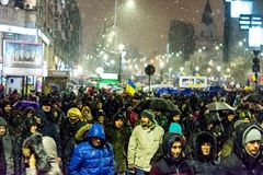 Anti-corruption protest in Bucharest. Masive Anti-corruption protest in Bucharest, Roumania. Event from 20 february 2018 Royalty Free Stock Images