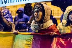 Anti-corruption protest in Bucharest. Masive Anti-corruption protest in Bucharest, Roumania. People with flag. Event from 20 february 2018 Royalty Free Stock Photography