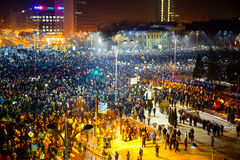 Masive protest in Bucharest, Romania. Royalty Free Stock Image