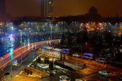 Masive protest w zwycięstwo kwadracie, Bucharest, Rumunia Obraz Stock