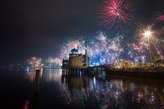 Most Beautiful Mosque. Masjid Amirul Mukminin & fireworks festival Royalty Free Stock Photography