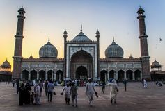 Jama Masjid after sun down, Delhi, India. The Masjid-i Jahān-Numā  the `World-reflecting Mosque`, commonly known as the Jama Masjid of Delhi, is one of the Royalty Free Stock Image