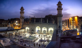Masjid Mahabat Khan Peshawar Pakistan. Muslims praying at the mosque of Mahabat Khan, Peshawar, Pakistan Royalty Free Stock Photos