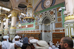 Masjid Nabawi和阿拉伯书法米哈拉布  免版税库存图片