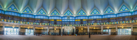 Masjid Negara Malaysia. Panoramic view of Malaysia National Mosque interior Stock Image