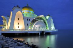 Masjid Selat at Blue Hour. A photo of the Masjid Selat (Straits Mosque) taken during the blue hour Stock Photo