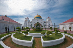 Masjid Selat Melaka@ die Straße-Moschee, Melaka Stockfotos