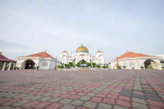 Masjid Selat Melaka or Malacca Straits Mosque during a beautiful sunrise. Stock Image