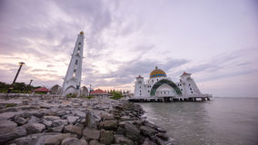 Masjid Selat Melaka or Malacca Straits Mosque during a beautiful sunrise. Stock Images