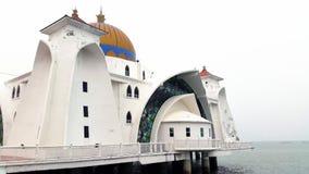 Masjid Selat Melaka, a mesquita Melaka dos passos Fotografia de Stock Royalty Free