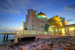 Masjid Selat Melaka (Straits Mosque). The Straits Mosque on Pulau Melaka off the coast of Malacca in Malaysia Stock Photos