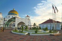 Masjid Selat Mosque. The Malacca Straits Mosque (Masjid Selat Melaka) is a mosque located on Malacca Island (Pulau Melaka) near Malacca Town in Malacca state Royalty Free Stock Photo