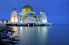 Masjid Selat at Night. A photo of the Masjid Selat (Straits Mosque) taken during the blue hour Royalty Free Stock Photography