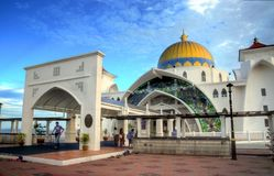 Masjid Selat (Straits Mosque). A photo of the Masjid Selat (Straits Mosque) taken during sunset Royalty Free Stock Images