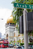 Masjid Sultan Mosque and Arab St. KAMPONG GLAM, SINGAPORE - AUGUST 17, 2016: Masjid Sultan Mosque viewed at an angle from North Bridge Road and Arab Street in stock photography