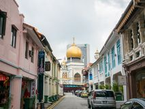 Masjid Sultan or Sultan Mosque with Gold Dome in Singapore. Masjid Sultan or Sultan Mosque with Gold Dome located in Arab street in Singapore: Singapore - April stock photography