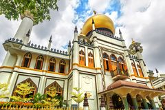 Masjid Sultan Sultan Mosque at Muscat Streetin Singapure. Muslim quarter at the Kampong Glam of Singapore is a popular tourist destination of Asia Stock Photography