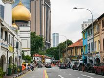 Masjid Sultan or Sultan Mosque Singapore with Gold Dome. Masjid Sultan or Sultan Mosque with Gold Dome Singapore View From North Bridge Road: April 15 2018 royalty free stock image