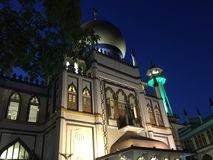 Masjid Sultan mosque singapore at night. View of Masjid Sultan mosque in singapore at night royalty free stock photo