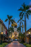 Masjid Sultan Mosque in Singapore at sunrise. View of the Masjid Sultan Mosque in Singapore at sunrise stock image