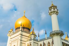 Masjid Sultan at Mosque street in Singapore. Sultan Mosque in Singapore, Muslim quarter at Kampong Glam of Singapore is popular tourist destination stock image