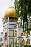 Masjid Sultan Mosque and Tree. KAMPONG GLAM, SINGAPORE - AUGUST 17, 2016: Masjid Sultan Mosque viewed at an angle from North Bridge Road in the Malay Heritage Royalty Free Stock Images