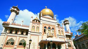 Masjid Sultan,Singapore Mosque. In Arab Street with blue sky stock image