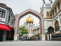 Masjid Sultan or Sultan Mosque View From Kampong Glam Singapore. Masjid Sultan or Sultan Mosque View From Kampong Glam: Singapore - April 15 2018 royalty free stock photo