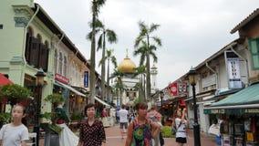 Masjid Sultan View From Kampong Glam, via di Bussorah, Singapore archivi video