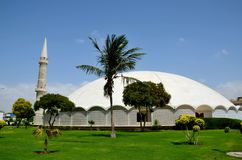 Masjid Tooba or Round Mosque with marble dome minaret and gardens Defence Karachi Pakistan. Karachi, Pakistan - September 9, 2016: Masjid e Tooba or Tooba Mosque royalty free stock photo