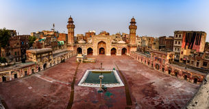 Masjid Wazir Khan Lahore Pakistan. Panorama of the mosque`s courtyard facing towards the mosque`s prayer hall, Lahore, Pakistan stock images