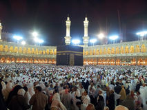 Masjidil Haram Mosque. MECCA, SAUDI ARABIA - MAC 24 2012 : Thousands of Muslims dispersed after prayer at Masjidil Haram mosque Royalty Free Stock Photos