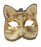 Mask. The gilt mask in the form of a cat,  isolated on a white background Royalty Free Stock Image
