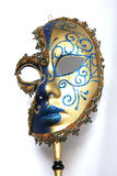 Mask. Golden blue Venitian mask on an isolated white background