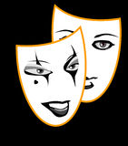 Mask. Two masks logos for theater cinema film art Stock Images