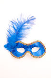 Mask. Image of a blue eye mask with feather Royalty Free Stock Images