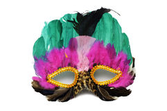 Mask. A colourful, decorative, feathered mask isolated on white background royalty free stock image