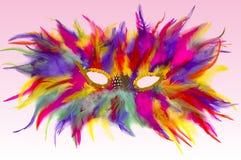 Mask. Carnival mask on light pink background