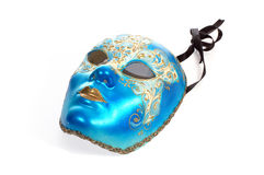 Mask. Venetian carnival mask, close-up, isolated on white Stock Photos