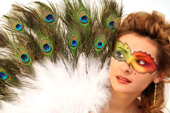Mask. Lady with fantasy makeup and peacock's fun Stock Photo
