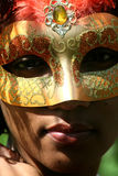 Mask. A photograph of a masked woman, a portrait